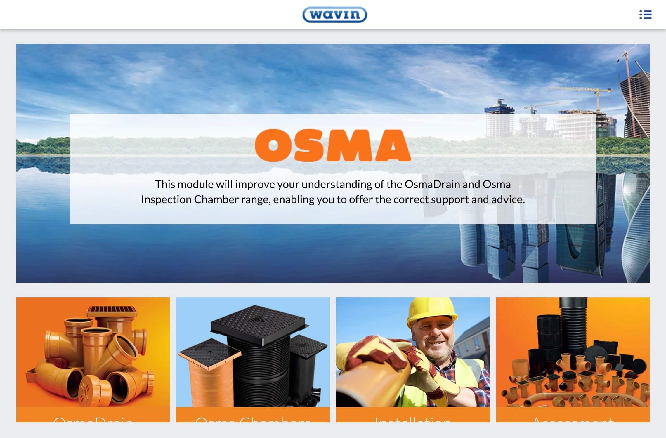 OSMA Drain E Elearning course screenshot