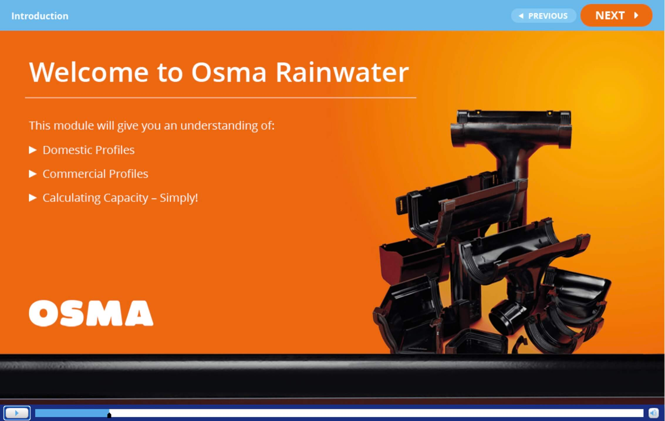 OSMA Rainwater E Learning screen shot
